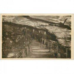 carte postale ancienne 89 ARCY SUR CURE. La descente aux Grottes 1949