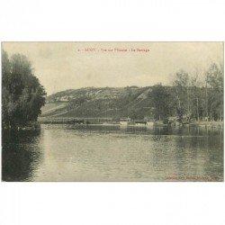 carte postale ancienne 89 AUGY. Le Barrage sur l'Yonne 1915