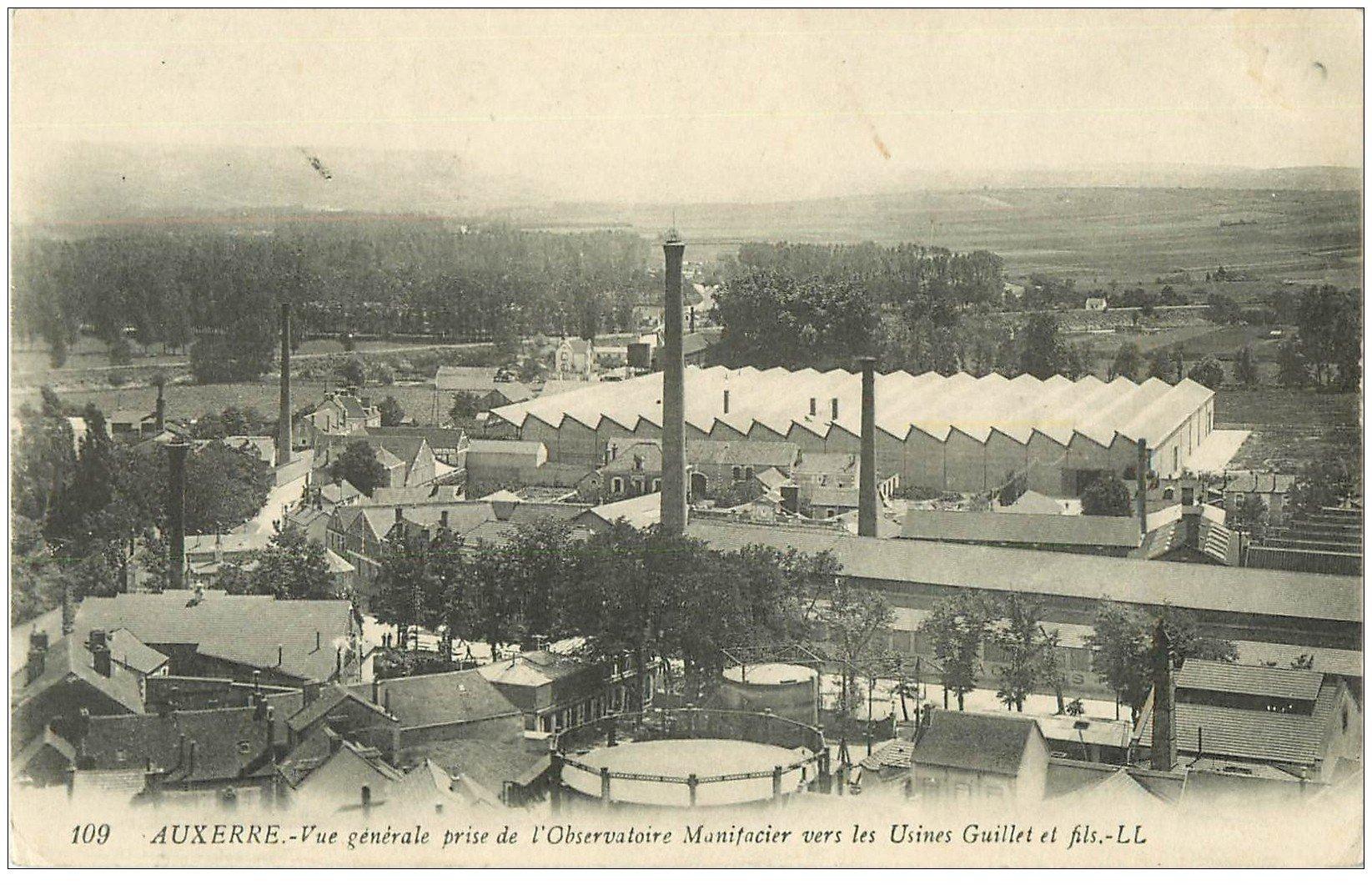 carte postale ancienne 89 AUXERRE. Observatoire Manifacier vers Usines Guillet 1915