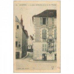 carte postale ancienne 89 AUXERRE. Place Saint Nicolas et rue de l'Yonne. Impeccable et vierge