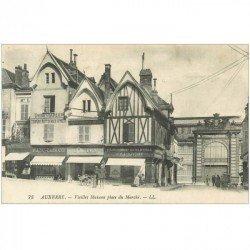 carte postale ancienne 89 AUXERRE. Teinturerie et Pâtisserie Place du Marché 1923
