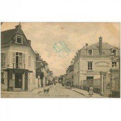 carte postale ancienne 89 AVALLON. Banque Société Générale et Mercerie Moreau rue de Lyon