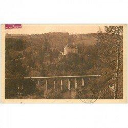 carte postale ancienne 89 AVALLON. CHASTELLUX. Château et Viaduc 1934
