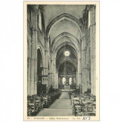 carte postale ancienne 89 AVALLON. Nef Eglise Saint Lazare 1953
