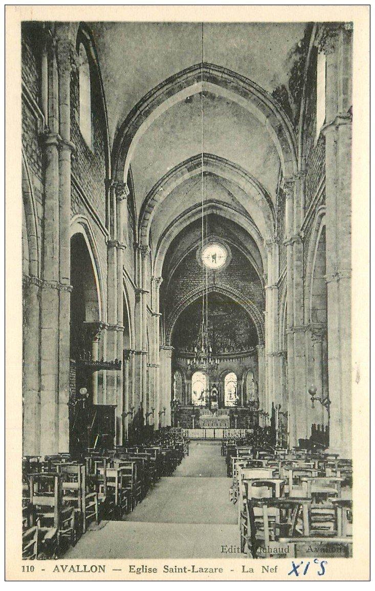 carte postale ancienne 89 AVALLON. Nef Eglise Saint Lazare 1953