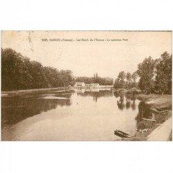 carte postale ancienne 89 BASSOU. Le nouveau Pont sur l'Yonne vers 1938