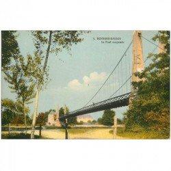 carte postale ancienne 89 BONNARD BASSOU. Le Pont Suspendu