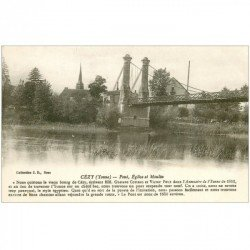 carte postale ancienne 89 CEZY. Pont suspendu Eglise et Moulin