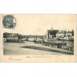 carte postale ancienne 89 SENS. Attelage pour déchargement de Péniche au Port 1904