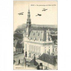 carte postale ancienne 89 SENS. Avions Aéroplanes sur Hôtel de Ville 1916