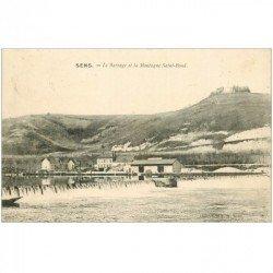carte postale ancienne 89 SENS. Barrage et Montagne Saint Bond 1915