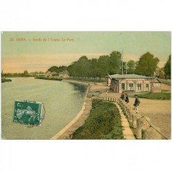 carte postale ancienne 89 SENS. Bords de l'Yonne et Port. Carte de luxe 1908