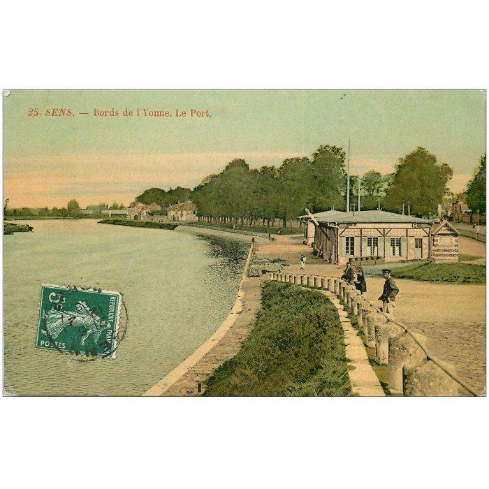 89 sens bords de l 39 yonne et port carte de luxe 1908 for Sens 89 yonne