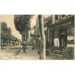 carte postale ancienne 89 SENS. Café Comptoir Bourguignon et Hôtel Avenue Vauban