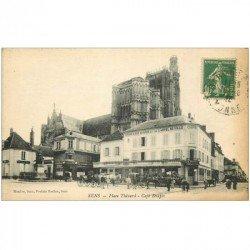 carte postale ancienne 89 SENS. Café Drapès et de l'Hôtel de Ville Place Thénard 1925