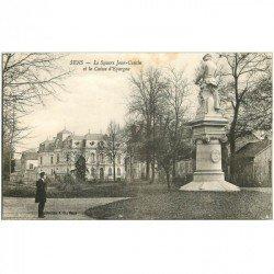 carte postale ancienne 89 SENS. Caisse d'Epargne et Square Jean Cousin