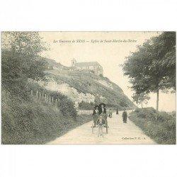 carte postale ancienne 89 SENS. Eglise Saint Martin du Tertre 1915 attelage Ane