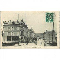 carte postale ancienne 89 SENS. Grand Bar Senonais Faubourg d'Yonne 1908. Verso entièrement blanc...