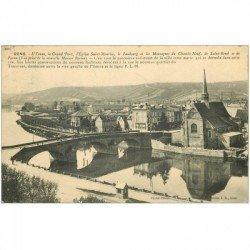 carte postale ancienne 89 SENS. Grand Pont, Eglise, Faubourg et Montagnes du Chemin Neuf, de Saint Bond et de Paron 1911
