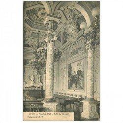 carte postale ancienne 89 SENS. Hôtel de Ville Salle du Conseil