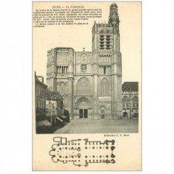carte postale ancienne 89 SENS. La Cathédrale et son plan