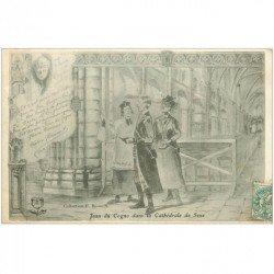 carte postale ancienne 89 SENS. La Cathédrale Jean de Cogno 1904