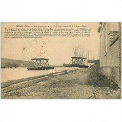 carte postale ancienne 89 SENS. Mise à sec d'un Ponton par retrait des eaux Lit de la Fausse Rivière 1914