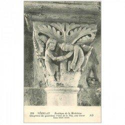 carte postale ancienne 89 VEZELAY. Basilique Châpiteau 4° Pilier Nef Issac bénit Jacob