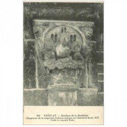 carte postale ancienne 89 VEZELAY. Basilique Châpiteau Collatéral droit Festin du mauvais Riche