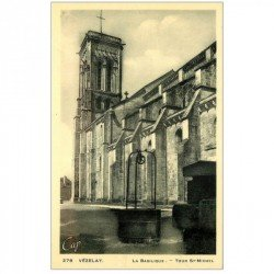 carte postale ancienne 89 VEZELAY. Tour Saint Michel Basilique et Puits