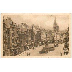 carte postale ancienne 14 LISIEUX. Autocars Place Victor-Hugo