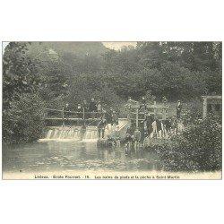 carte postale ancienne 14 LISIEUX. Bains de pieds et la Pêche à Saint-Martin. Ecole Fournet