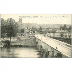 carte postale ancienne 89 VILLENEUVE SUR YONNE. Vue du Pont sur l'Yonne 1919