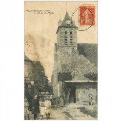 carte postale ancienne 89 VILLETHIERRY. Clocher de l'Eglise 1907 belle animation, mais carte salie