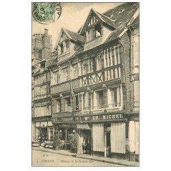 carte postale ancienne 14 LISIEUX. Café de la Terrasse Grande Rue 1907