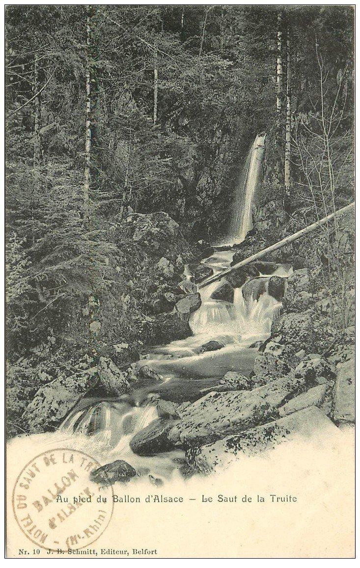 carte postale ancienne 90 BALLON D'ALSACE. Le Saut de la Truite cascade 1905