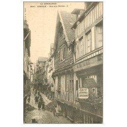 carte postale ancienne 14 LISIEUX. Café Rue des Fèves vers 1900