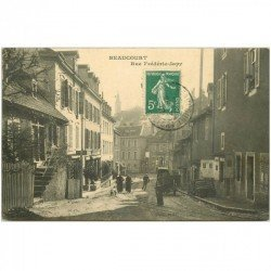 carte postale ancienne 90 BEAUCOURT. Rue Frédéric Japy 1912