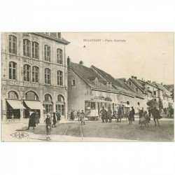 carte postale ancienne 90 BEAUCOURT. Tabac Bazar Parisien Place Centrale 1919 Tramway
