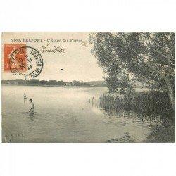 carte postale ancienne 90 BELFORT. Baigneurs à l'Etang des Forges 1910. Petit défaut coin gauche inf.