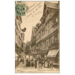 carte postale ancienne 14 LISIEUX. Coiffeur Rue des Fèves 1924