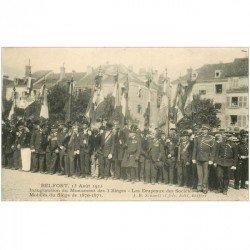 carte postale ancienne 90 BELFORT. Inauguration du Monument des 3 Sièges 1913. Mobiles et Drapeaux des Sociétés
