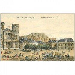 carte postale ancienne 90 BELFORT. La Place d'Armes en 1860