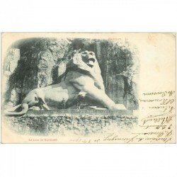 carte postale ancienne 90 BELFORT. Le Lion de Bartholdi animation 1900
