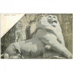 carte postale ancienne 90 BELFORT. Le Lion de Bartholdi. Tampon 55 RT