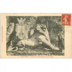 carte postale ancienne 90 BELFORT. Le Lion et les Armes de la Ville 1914
