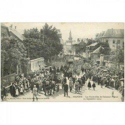 carte postale ancienne 90 BELFORT. Les Funérailles de l'Aviateur Fégoud en 1915 Aéroplane Avion Dirigeable