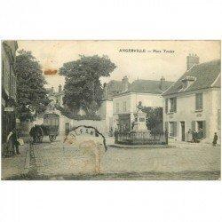 carte postale ancienne 91 ANGERVILLE. Place Tessier 1910 Coiffeur et Cycles Autos (en l'état)...