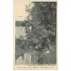 carte postale ancienne 91 AU TROIS EAUX. Pêcheurs sur l'Orge à Epinay et Villemoisson 1916
