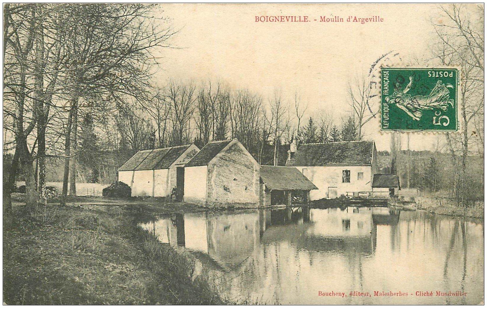 carte postale ancienne 91 BOIGNEVILLE. Moulin Argeville 1907